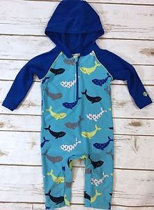 dec35280f6 Coolibar Baby Boy 6-12M One-Piece Hooded Rashguard Swimsuit Blue Whale  Print