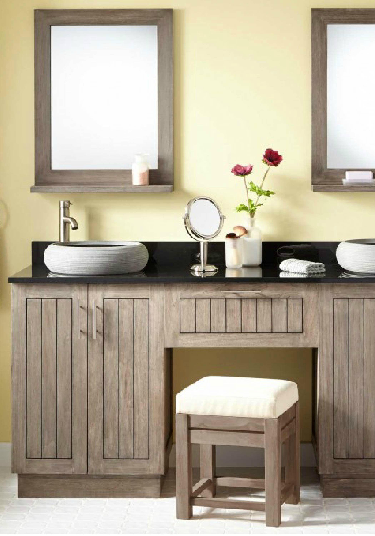 single sink vanity with makeup table