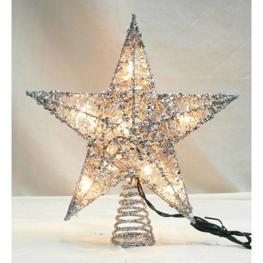 """Northlight 12"""" Lighted Glittering Silver Star Christmas"""