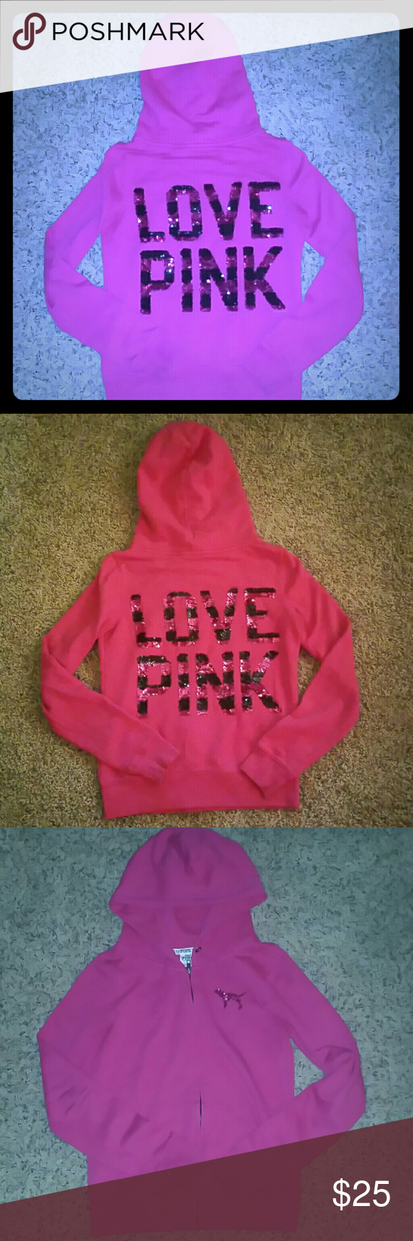 💕VS PINK BLING FULL ZIP HOODIE💕 💕VS PINK STRIPED BLING FULL ZIP HOODIE  💕SIZE XS 💕TTS 💕NO FLAWS 💕NO HOLES, RIPS, OR STAINS 💕ONLY HAS LIL PILING (NOT NOTICEABLE WHEN ON) 💕ALL SEQUINS INTACT/NO MISSING SEQUINS  💕WILL BUNDLE 💕REASONABLE OFFERS WELCOME 💕UFT ALSO PINK Victoria's Secret Tops Sweatshirts & Hoodies