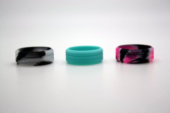 Pink Camo Silicone Wedding Rings for Women Band Perfect for Crossfit Fitness