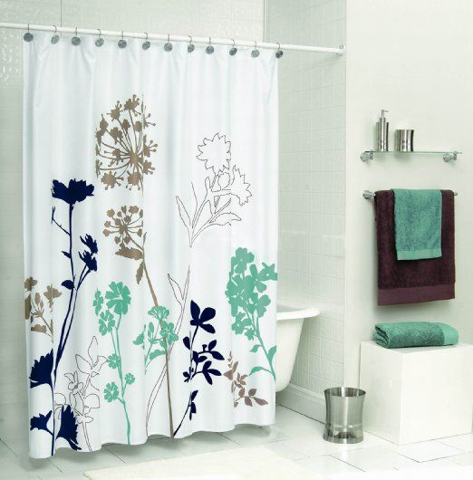 Uphome X Inch Royal Blue Brown And Teal Dandelion Bathroom