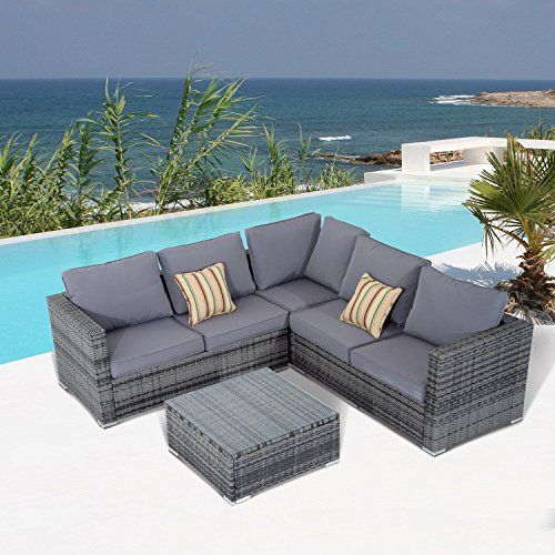 Outsunny Rattan Sofa Set 4pc Patio Cushioned Corner Sofa Coffee Table Outdoor Garden Furniture Aluminium Frame Wicker Weave Conservatory Grey Rustic Patio Furniture Garden Sofa Set Patio Cushions