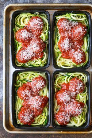 Zucchini Noodles with Turkey Meatballs - Damn Deli