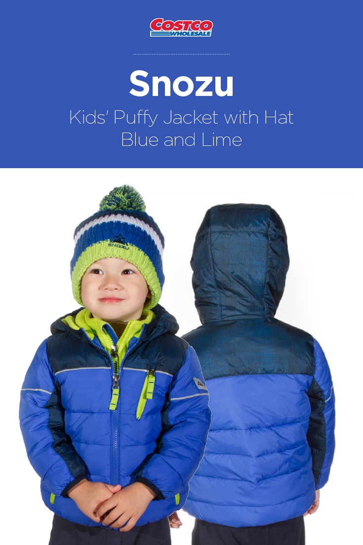 Snozu Kids Puffy Jacket With Hat Blue And Lime Puffy Jacket Boy Outerwear Kids Jacket [ 1102 x 735 Pixel ]