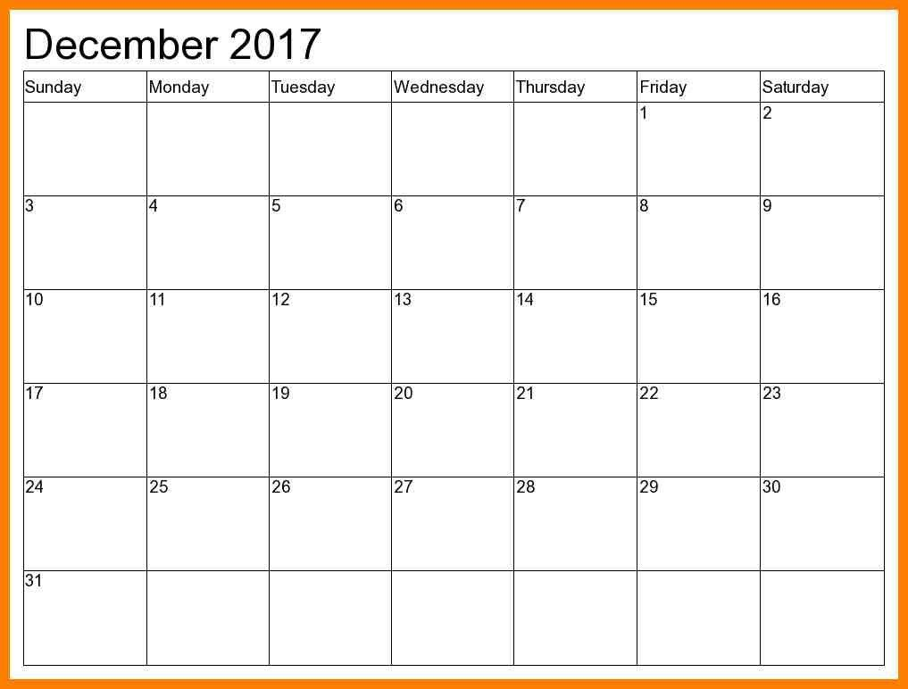 December 2017 Calendar Planner Monthly Calendar Template