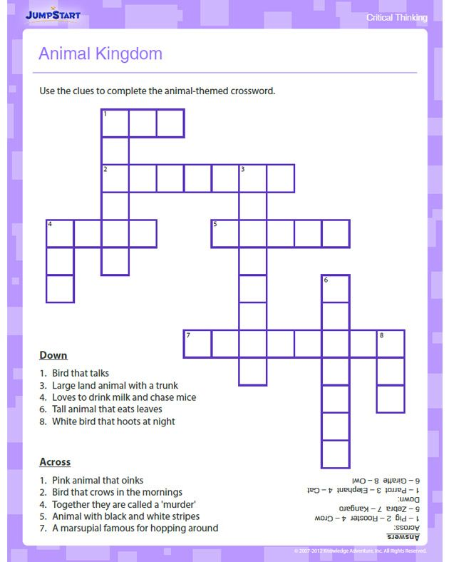 Animal Kingdom - Free Critical Thinking Worksheet for Kindergarten ...