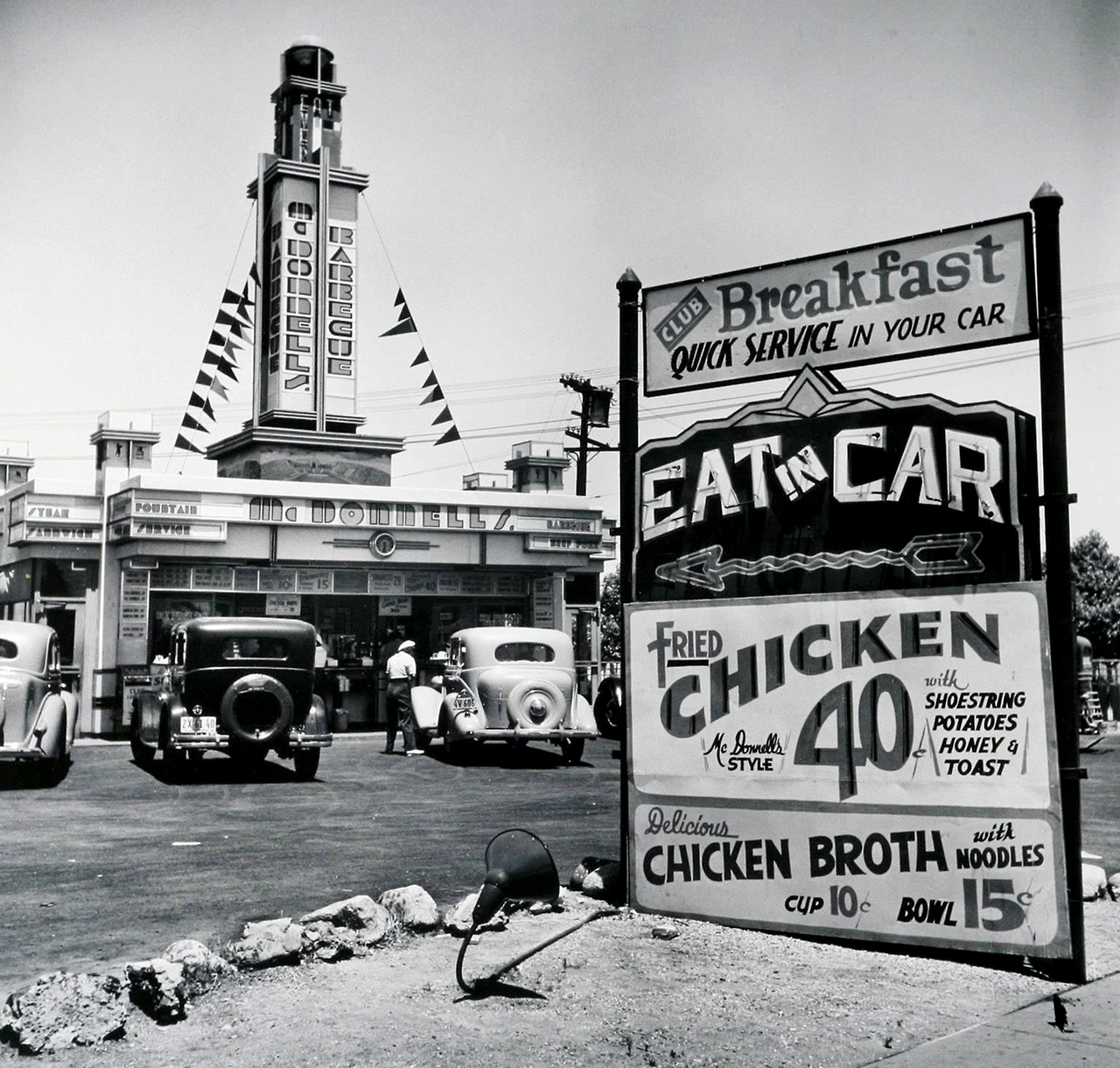 eat in car, (early drive-in restaurant) hollywood ca, 1935.john