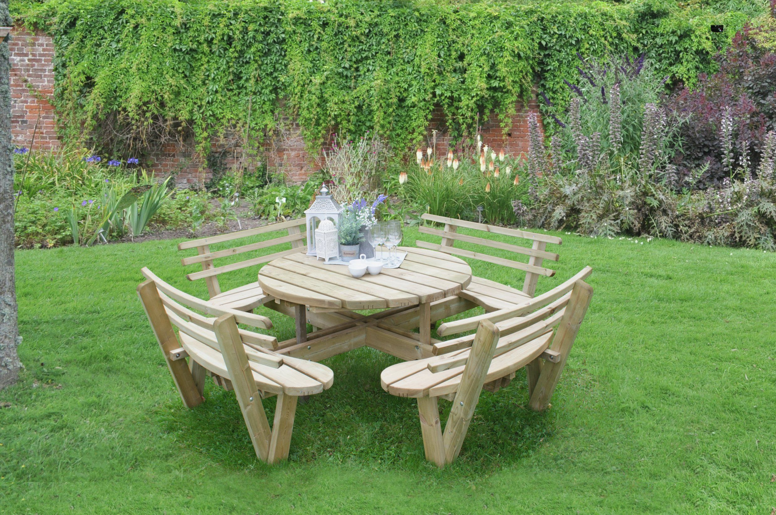 Forest 2 4m Circular Picnic Table With Seat Backs In 2020 Pallet Garden Furniture Diy Garden