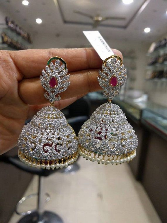 f44446fdb Most Beautiful Jhumkas/Earrings with White/Ruby American Diamonds Stones &  Pearls(1gm Gold) - Tradit