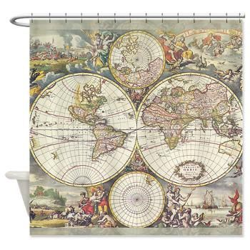 World Map Shower Curtain - Frederic de Wit map - Classic , travel ...