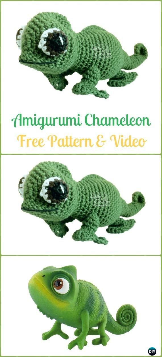15 Crochet Chameleon Amigurumi Softies Toy Patterns Wolle Croché