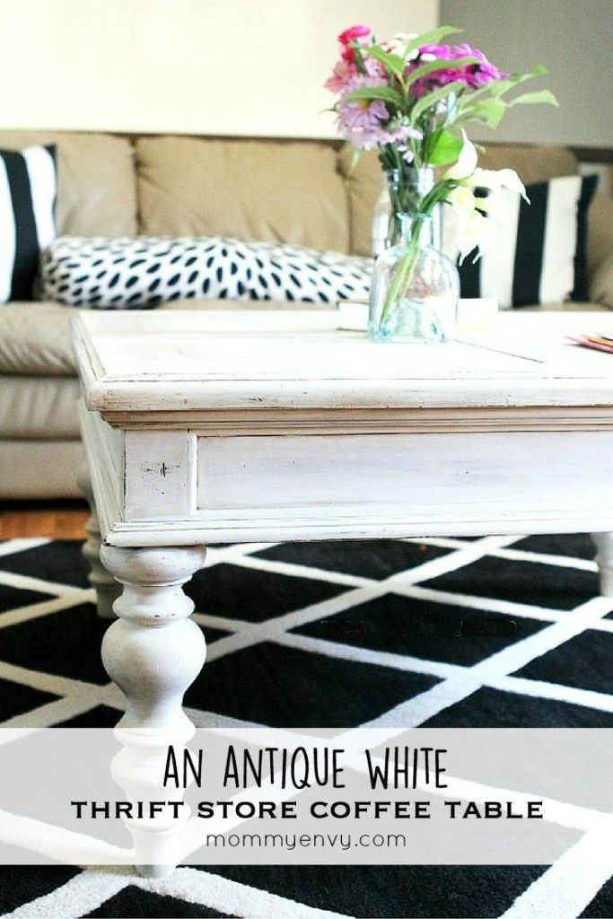 How To Get An Antique White Coffee Table From A Thrift Store Find | Great  Tips For Decorating Your Home On A Budget! | Www.mommyenvy.com