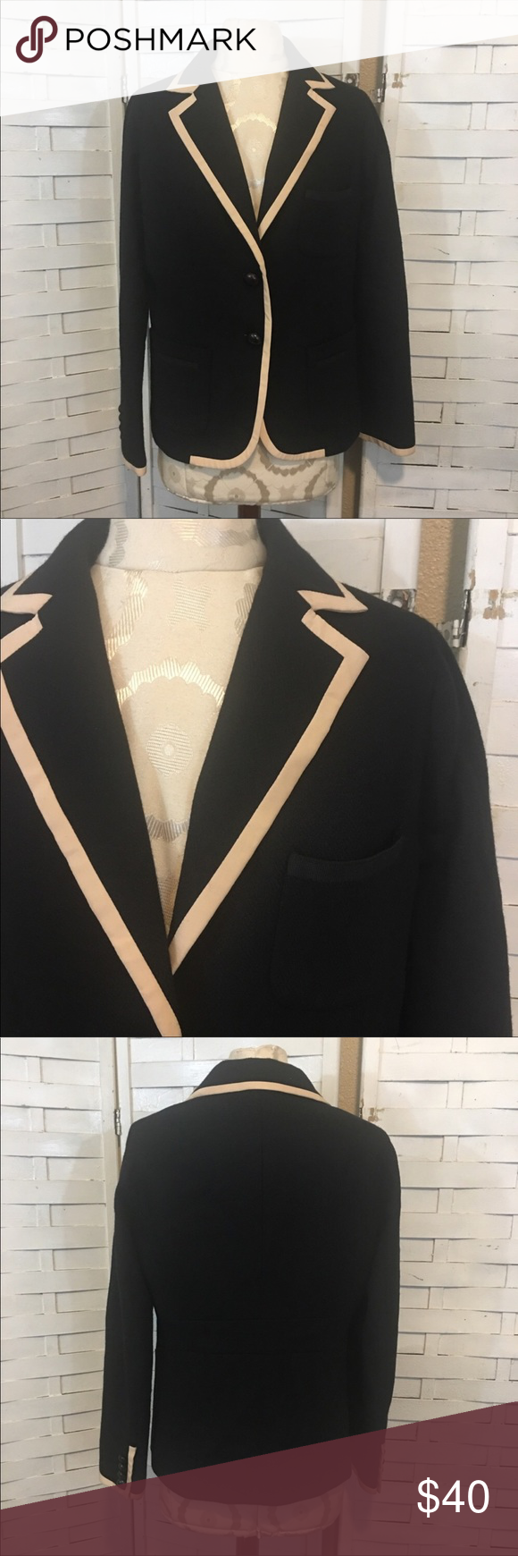 J.crew wool blazer N.643 Great condition wool blazer! Beautiful cream colored trim! No flaws to note. Fall and winter style staple! There was a small amount of pilling under the arms but I removed it with a fabric shaver. J. Crew Jackets & Coats Blazers