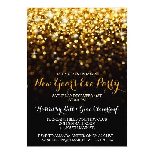 Gold Black Hollywood Glam New Year S Eve Party Invitation Zazzle Com 50th Wedding Anniversary Invitations Elegant Christmas Party Wedding Anniversary Invitations