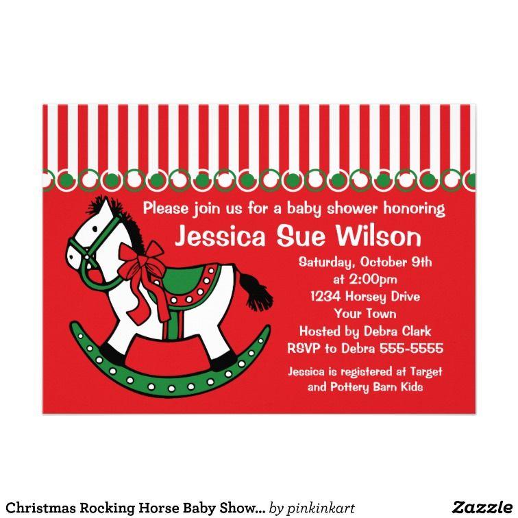 Christmas Rocking Horse Baby Shower Invitation | DIy | Pinterest ...