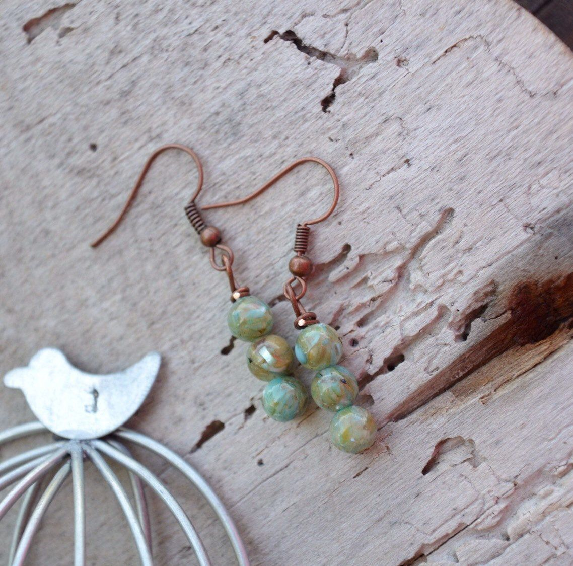 Turquoise bead earrings, beach jewelry Excited to share this item from my shop: Turquoise bead earrings, beach jewelry
