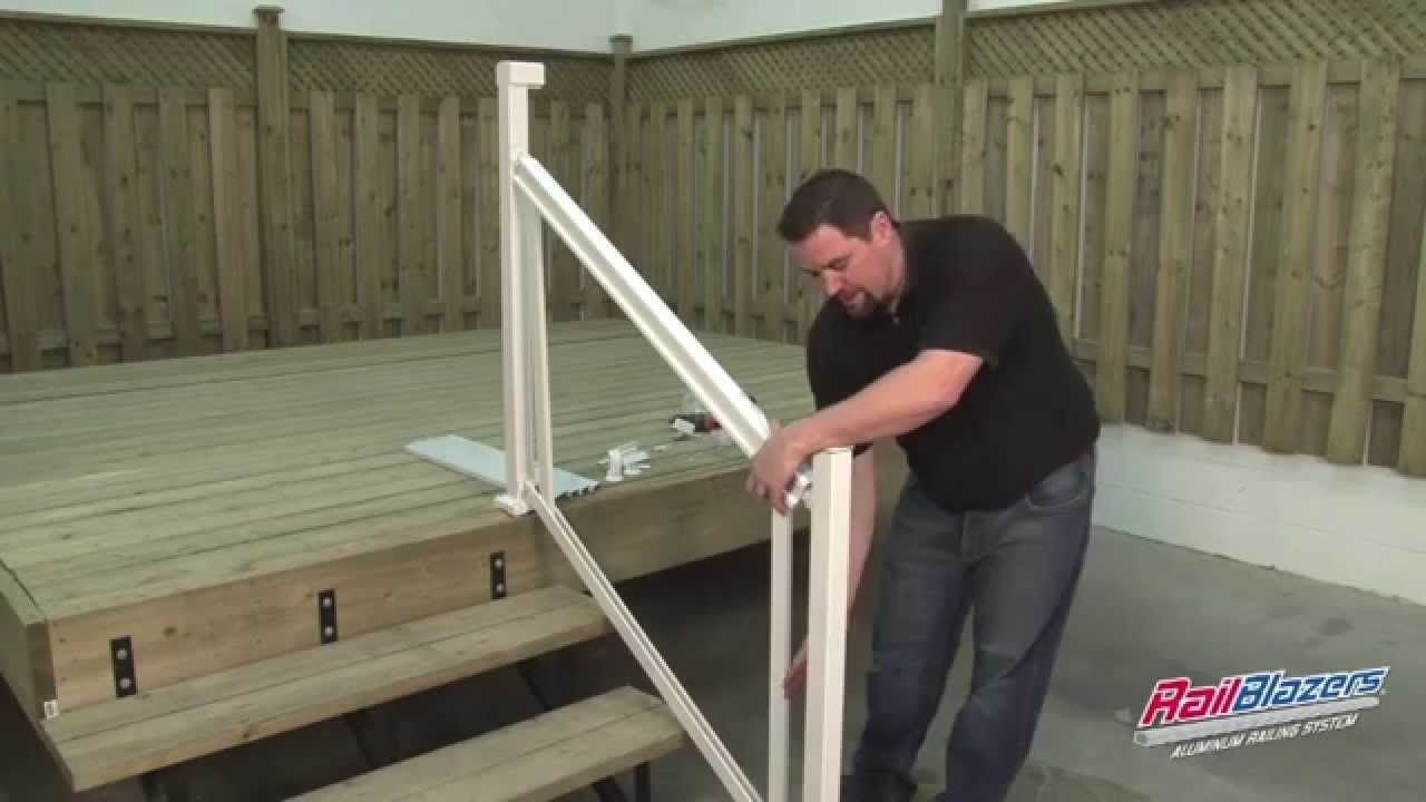 Railblazers Aluminum Railing System Stair Railing Installation   Installing Aluminum Stair Railing   Baluster   Deck Stair   Balcony Deck   Railing Systems   Pressure Treated