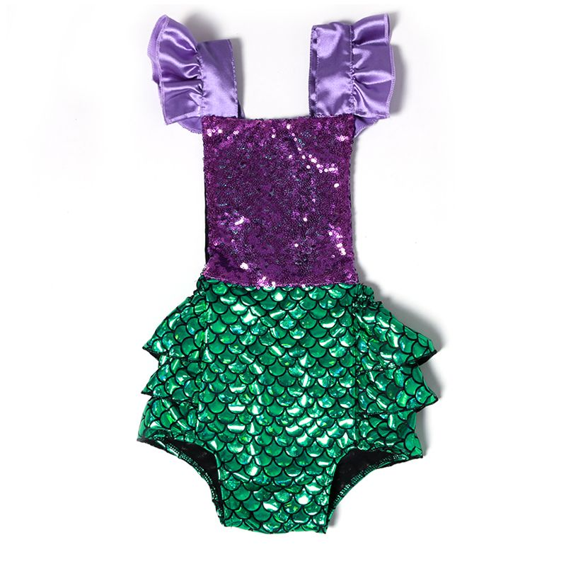 US Cute Newborn Baby Girl Sequin Mermaid Romper Bodysuit Jumpsuit Outfit Sunsuit