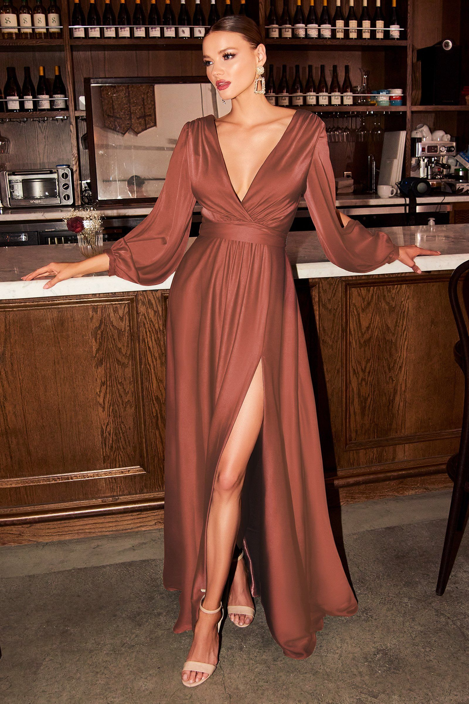 Long Sleeve Satin Gown by Cinderella Divine 7475 -