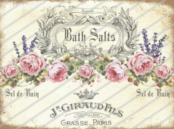 ~Vintage Antique Shabby Bath Salts Pink Roses Labels Waterslide Decals~ BA208