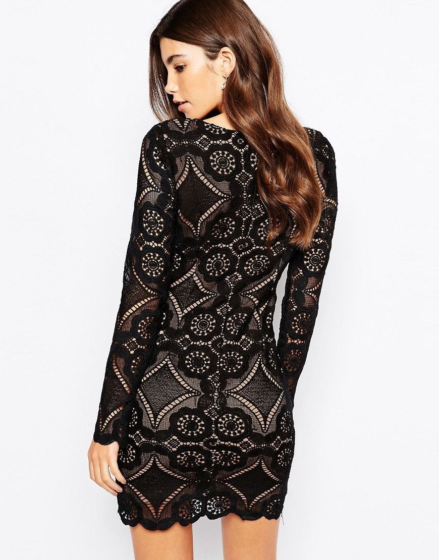 Love Triangle V Neck Mini Dress In All Over Lace Black Products