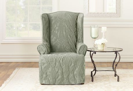 Amazing Matelasse Damask One Piece Wing Chair Slipcover Sure Fit Gmtry Best Dining Table And Chair Ideas Images Gmtryco