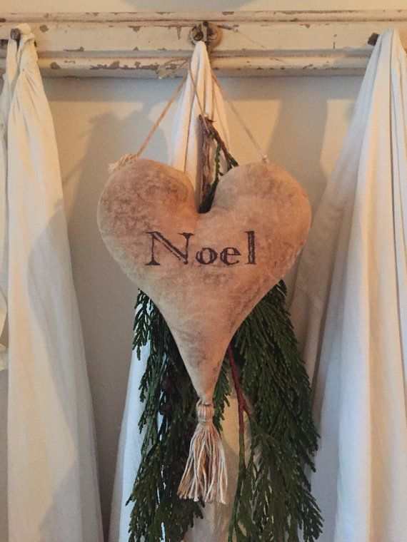 Hanging Primitive Heart with Tassel by 1871Farmhouse on Etsy