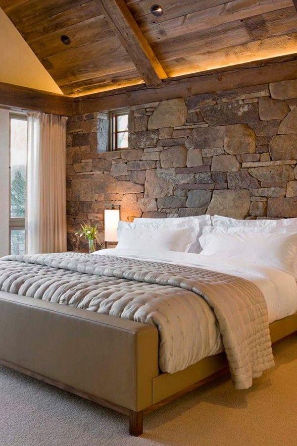 Stylish Stone Wall Design Idea For Bedroom Rustic Farmhouse
