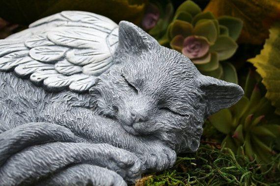 Cat Angel Statue   Long Hair, Maine Coon, Norwegian Forest Cat, Concrete  Garden