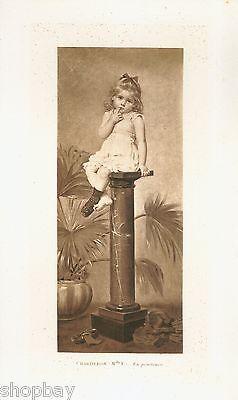 Original 1884 Francine Charderon Child In Penitence Painting Photogravure Ltd Ed