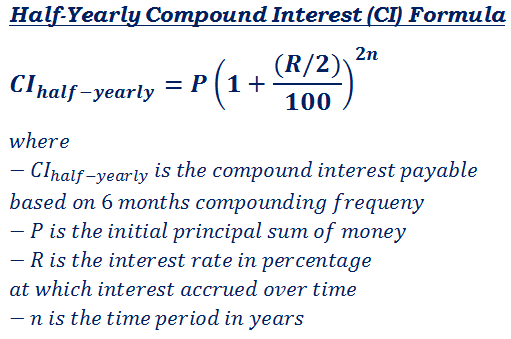 Formula To Calculate Interest Payable On HalfYearly Compound