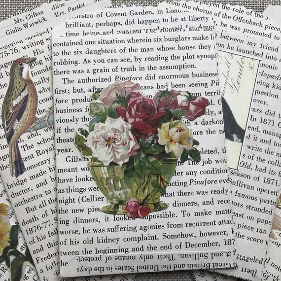 Handmade Vintage Bookpage Paper Bags Birds And Flowers Junk