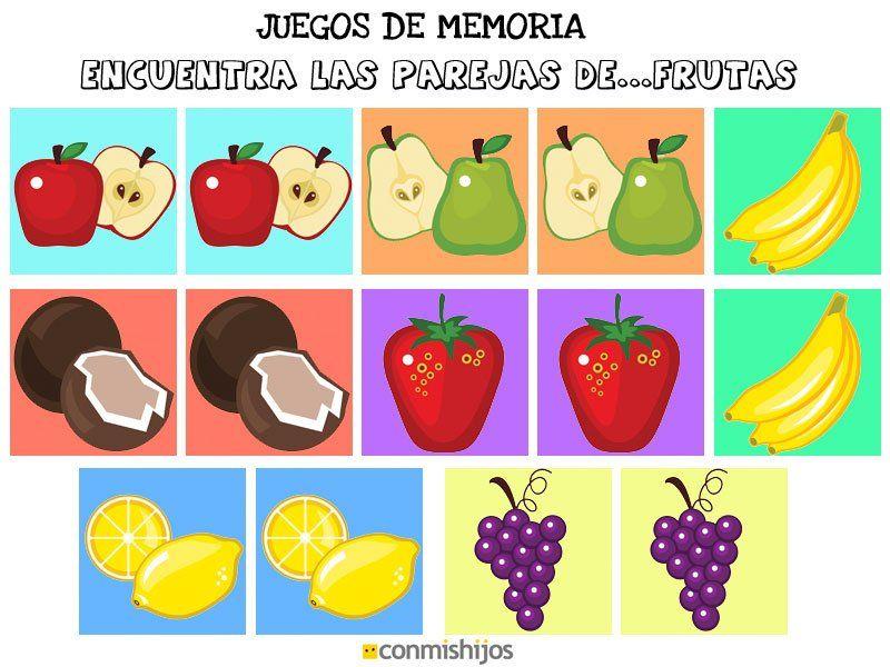 Juegos De Memoria Encuentra Las Parejas De Frutas Juegos De Memoria Juegos De Frutas Hojas De Actividades Para Niños