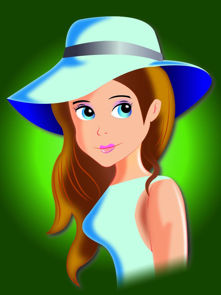 La Nina Del Sombrero Dibujo Vectorizado Digital Disney Characters Disney Princess Character
