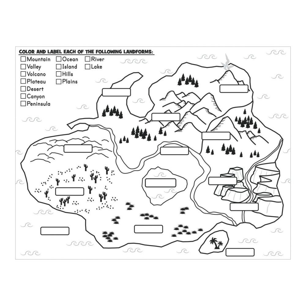 Color Your Own Label Color Landforms Posters Oriental Trading Landforms Posters Map Skills Geography Lessons