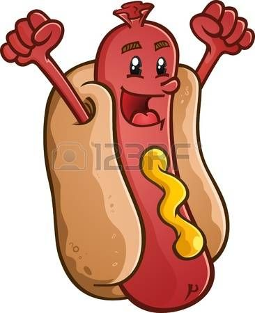 Hot Dog Hot Dog Cartoon Character With Emblem And Illustrated Lettering Cartoon Dog Hot Dog Stand Dog Vector