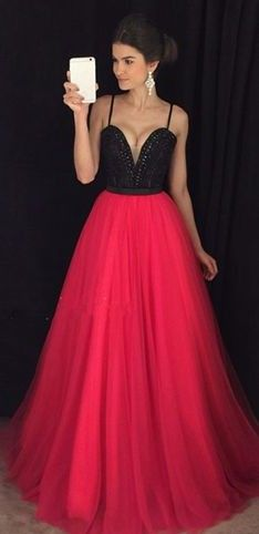 9bcf14bd8bab5 Sexy Red Black Prom Dresses Spaghettis Straps Beading A-line Evening Gowns