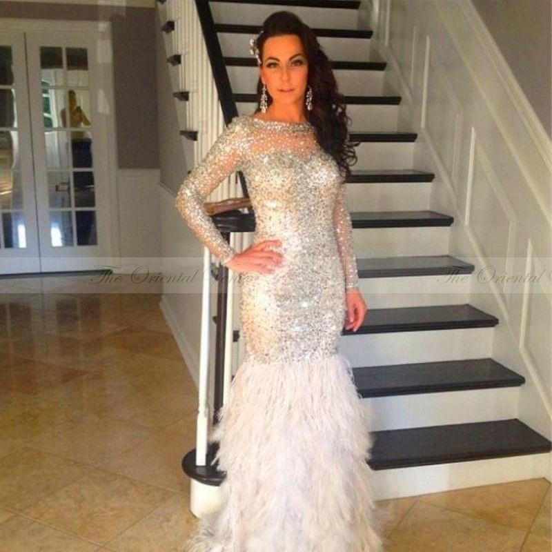 Sparkly Crystal Beaded Long Sleeves Mermaid Prom Dresses Feather ...