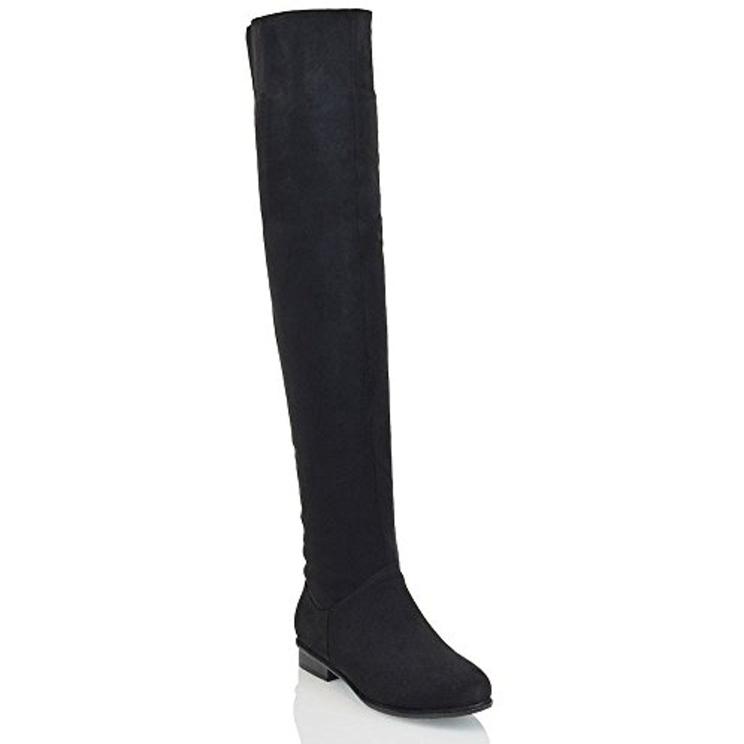 Women Over The Knee High Flat Ladies Long Faux Suede Thigh High Boots Shoes Size