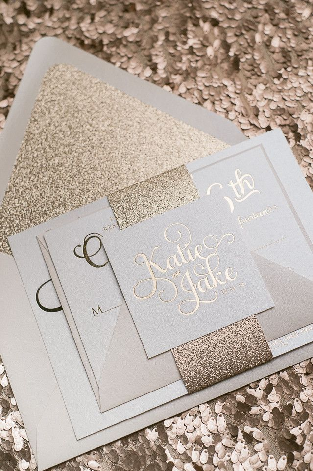Adele suite styled glitter package rose gold for Inexpensive glitter wedding invitations