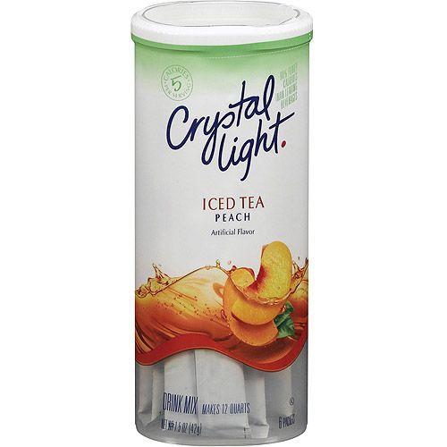 Crystal Light Peach Iced Tea Powdered Drink Mix Low Caffeine 1 5 Oz Can Walmart Com Peach Tea Peach Ice Tea Tea Powder