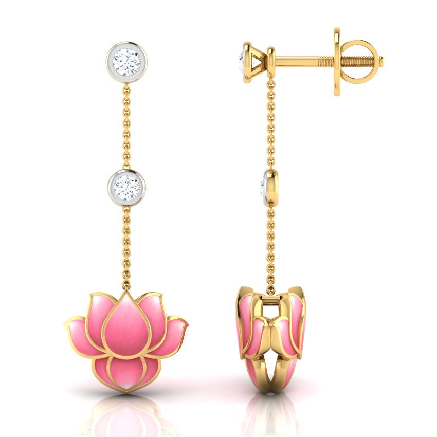 Caratlane Floral Design Drop Earrings: Buy Caratlane
