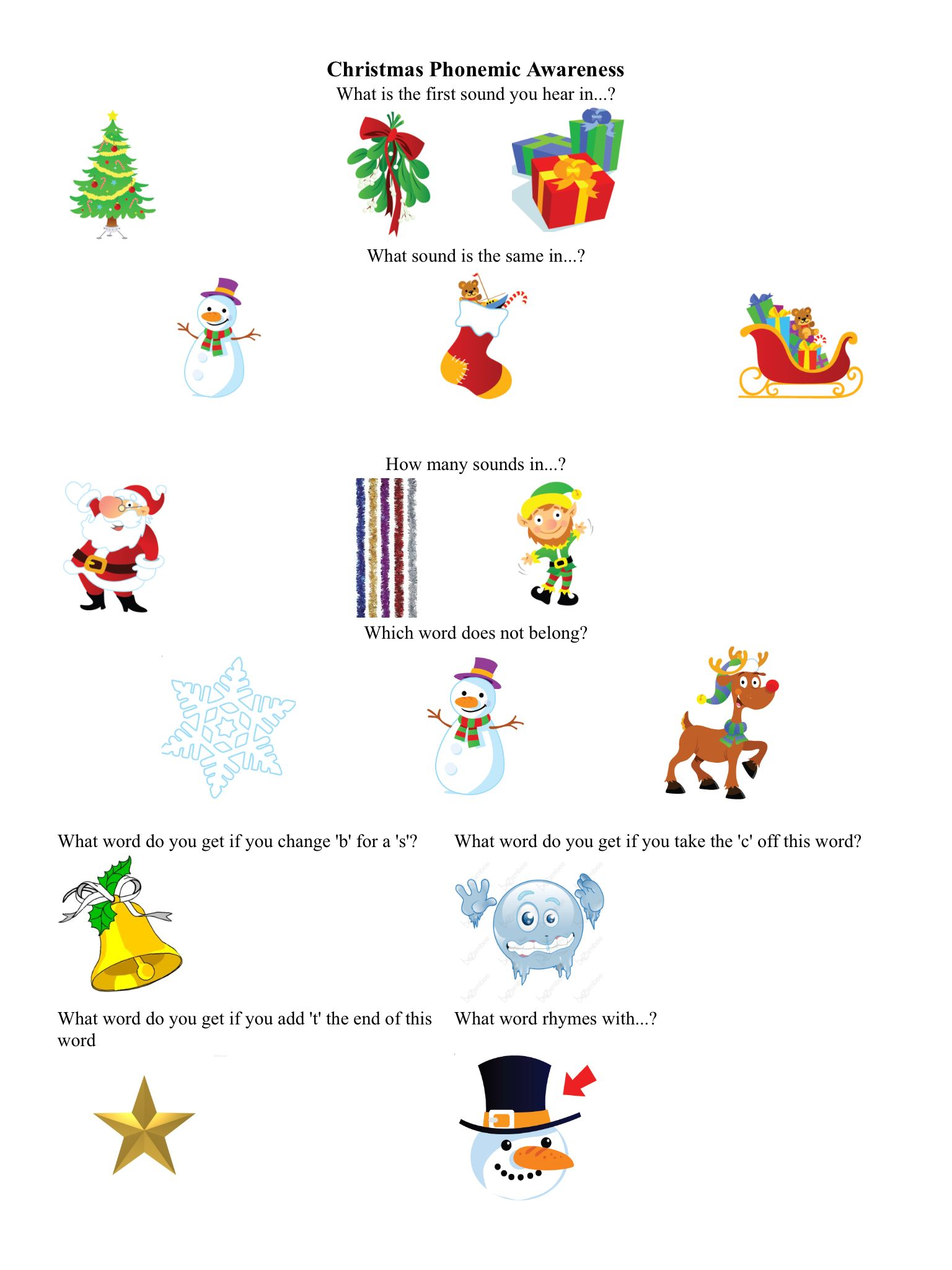 Christmas Phonemic Awareness