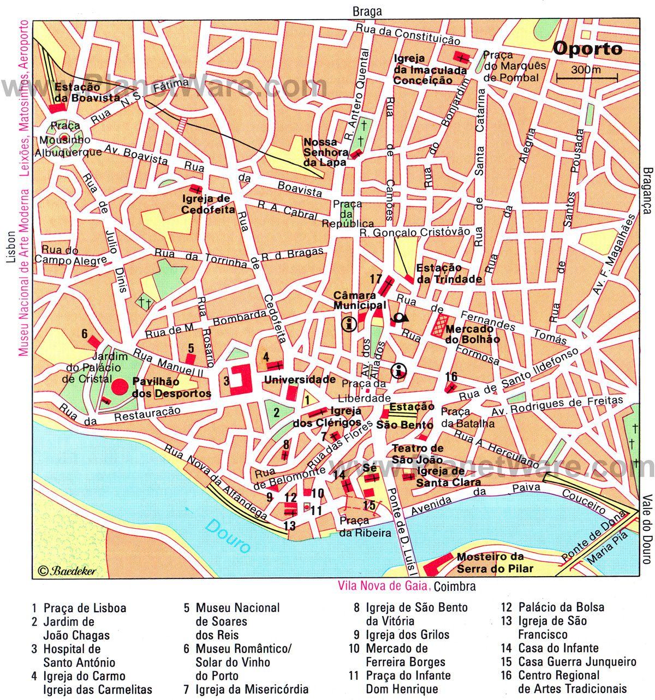 Oporto Map Tourist Attractions Portugal In 2019 border=