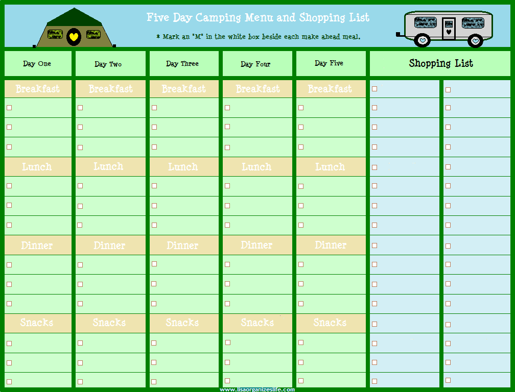 five day camping menu planner with shopping list www