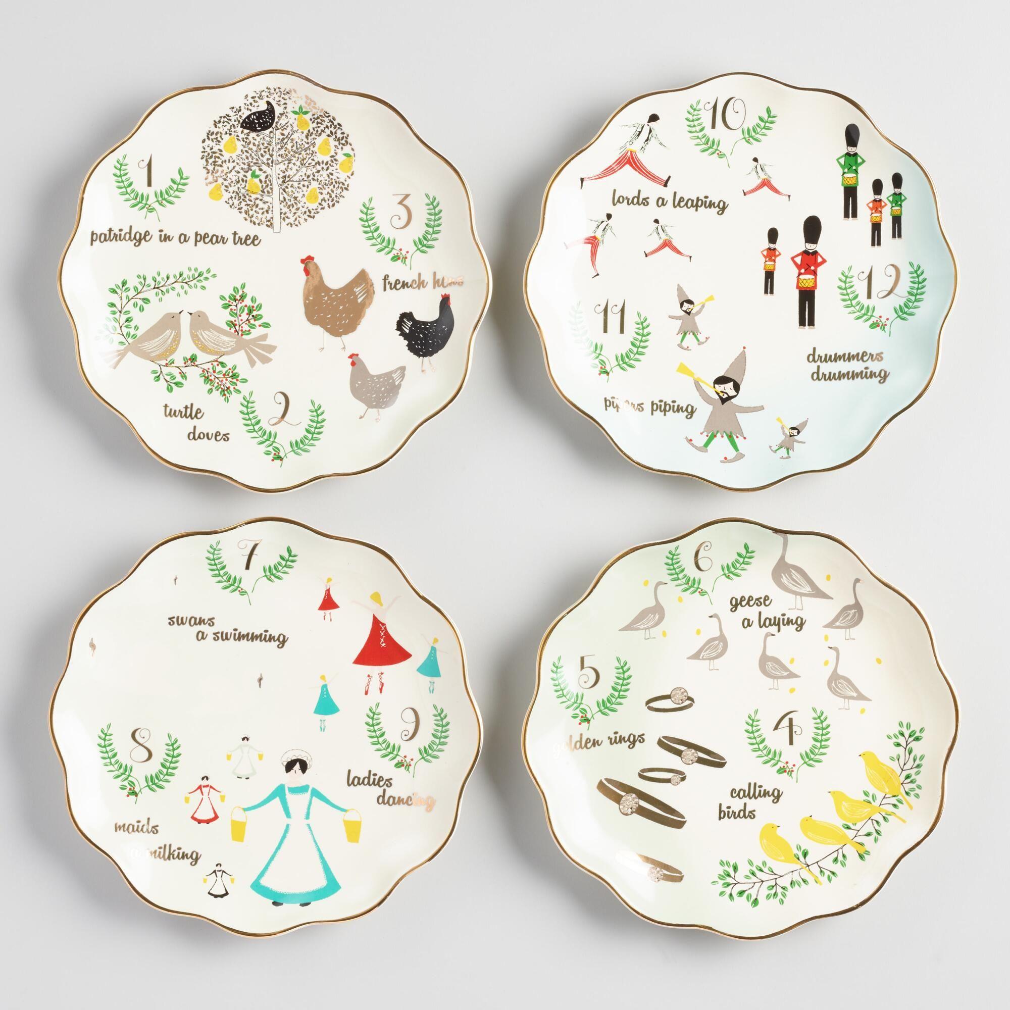 Christmas Plate Set.12 Twelve Days Of Christmas Plates Set Of 4 Multi By World
