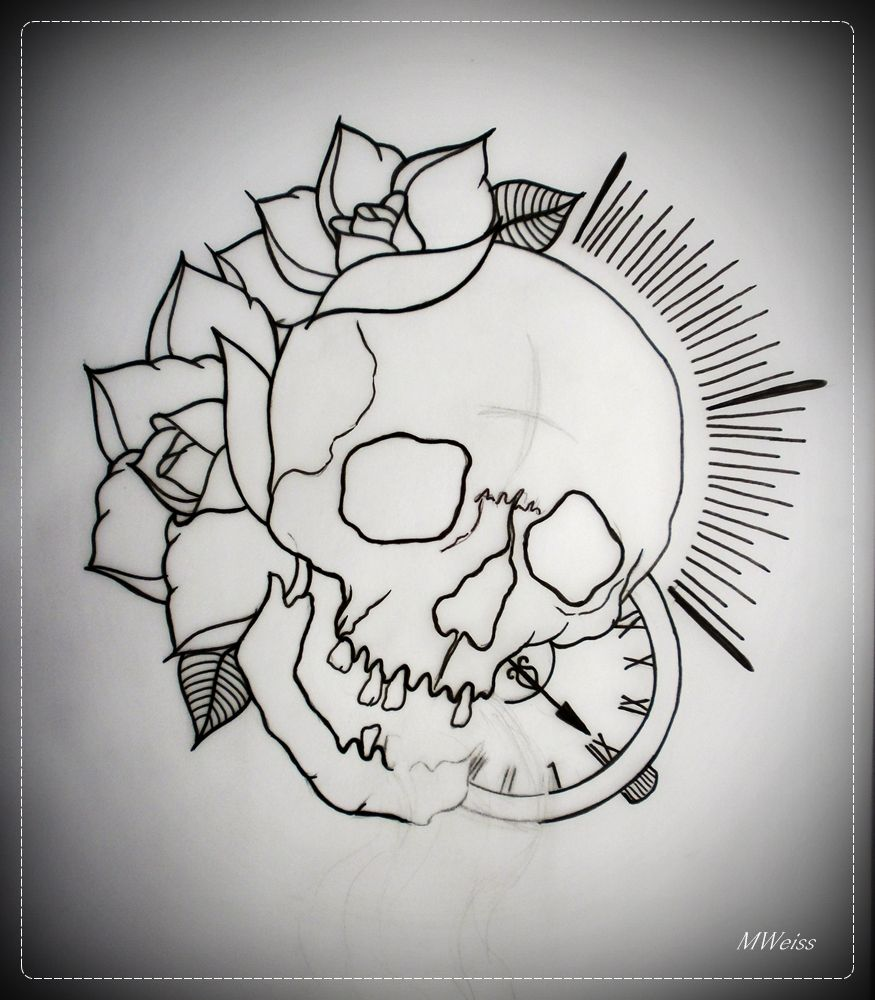 Tattoo Drawing Outline : Traditional skull tattoo outline google search tattoos