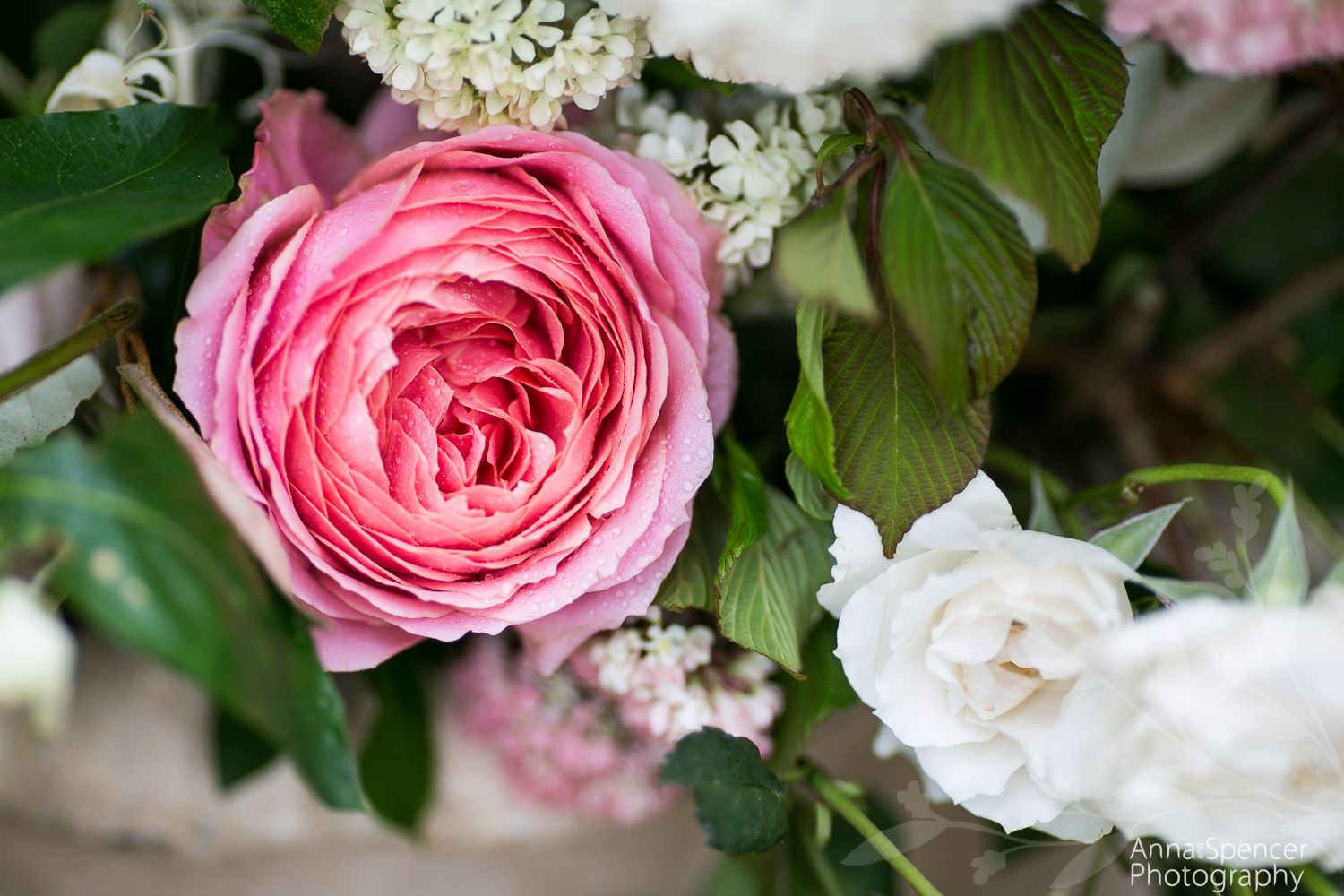 Pink rose in a wedding floral arrangement. Amy Osaba