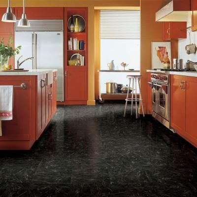 TrafficMASTER Black Marble 12 in. x 12 in. Peel and Stick Vinyl Tile ...